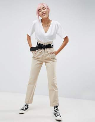 Asos Straight Leg High Waisted Pants With Belt
