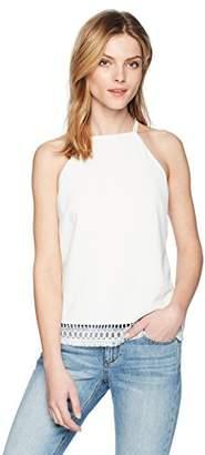 Cooper & Ella Women's Lace Detail Novelty Jacquard Jane Double Strap Halter Top
