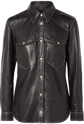 Isabel Marant Nile Leather Shirt - Black