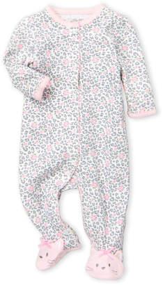 66aa42cadb849 Little Me Newborn Girls) Floral Leopard Print Footie