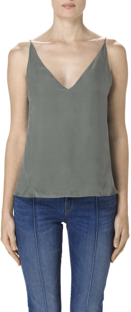 J Brand Lucy Silk Cami in Castor Grey