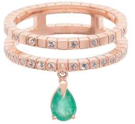 Diane Kordas Spectrum 18kt Rose Gold Diamond & Emerald Ring - Womens - Green
