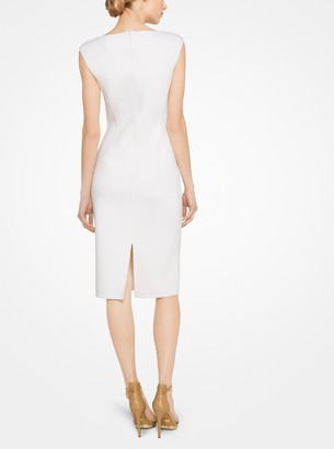 Michael Kors Stretch-Boucle V-Neck Sheath Dress