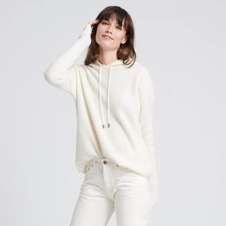 Naadam Luxe Cashmere Ribbed Hoodie White