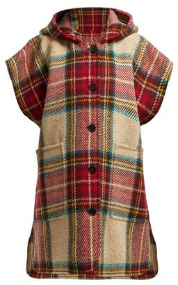 Burberry Hopefield Tartan Wool Hooded Cape - Womens - Red