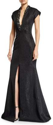 Badgley Mischka Metallic Cap-Sleeve Deep-V Gown w/ Beading