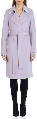 Badgley Mischka Petite Chloe Double-Face Wool Wrap Coat