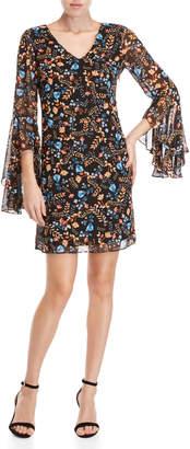 Kensie Floral Bell Sleeve Mini Dress