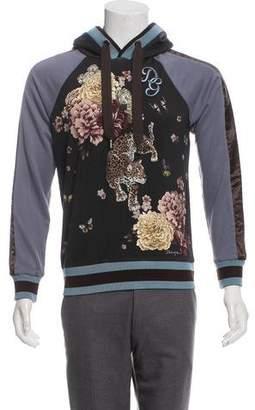 Dolce & Gabbana Leopard Appliqué Satin-Trimmed Hoodie