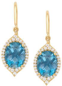 Jamie Wolf 18k Small Oval Aladdin Pave Earrings w/ Blue Topaz & Diamonds