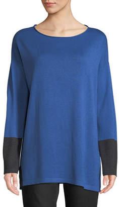 Eileen Fisher Cotton-Silk Colorblock Tunic Sweater