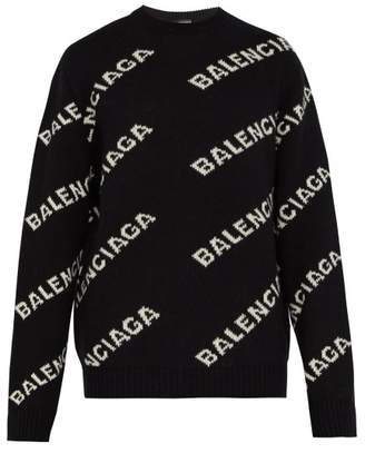Balenciaga Logo Intarsia Sweater - Mens - Black White