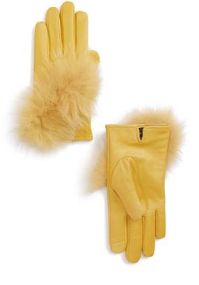 Echo Lambskin Leather Touchscreen Gloves with Genuine Fox Fur Trim