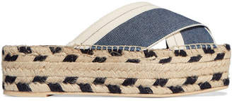 Denim And Canvas Espadrille Platform Sandals - Dark denim