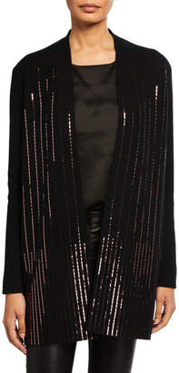 Neiman Marcus Cashmere Sequin Rows Long-Sleeve Cardigan
