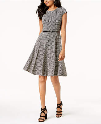 Jessica Howard Belted Printed Fit & Flare Dress