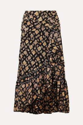 Ulla Johnson Alie Ruffled Fil Coupé Silk-blend Midi Skirt - Midnight blue