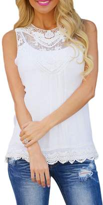 bf50ef989dbc79 Zamtapary Women s Tunics Summer Sleeveless Sheer Lace Chiffon T Shirts Tops  XL