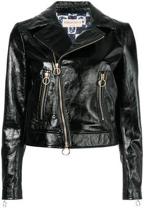 zip-embellished biker jacket