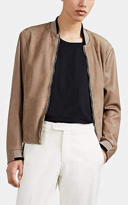 Giorgio Armani Men's Leather & Suede Bomber Jacket - Beige, Tan