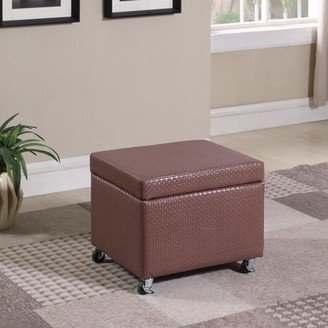 "Ore International 17"" in Auburn Brown Basketweave Leatherette Filing Storage Ottoman Seat with Industrial Caster Wheels"