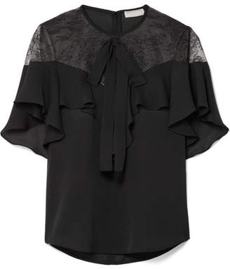 Elie Saab Lace And Ruffled Silk-blend Crepe Blouse - Black