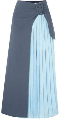REJINA PYO - Linda Wrap-effect Pleated Two-tone Crepe And Cotton-blend Twill Maxi Skirt - Blue