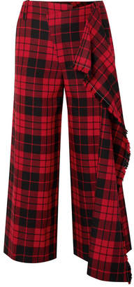 Monse Cropped Tartan Wool Wide-leg Pants - Red