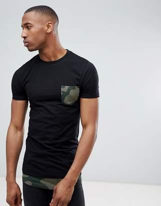Asos DESIGN super longline muscle fit t-shirt with camo curved hem extender & printed pocket