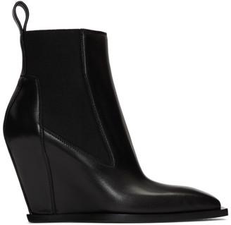 Rick Owens Black Leather Sharp Wedge Boot