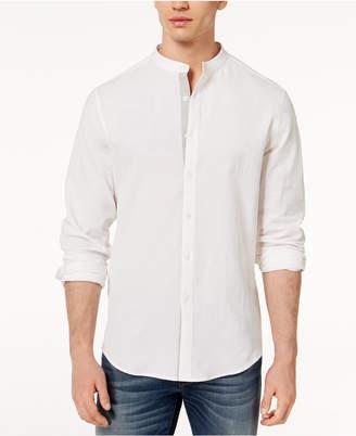 INC International Concepts I.N.C. Men's Seersucker Band-Collar Shirt, Created for Macy's