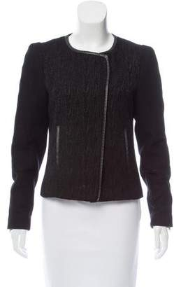 Comptoir des Cotonniers Collarless Leather-Trimmed Jacket