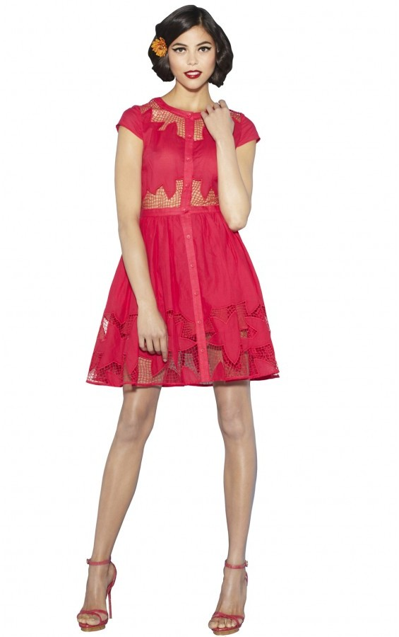 Alice + Olivia Papina Embroidered Button Down Dress