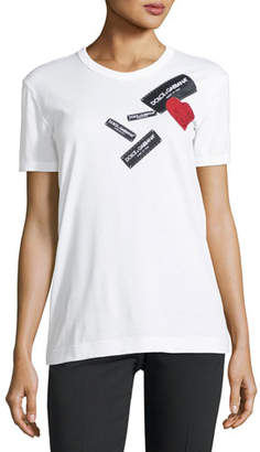 Dolce & Gabbana Short-Sleeve Jersey T-Shirt with Tag Heart Applique