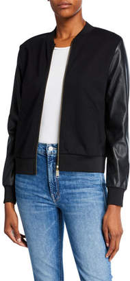 MICHAEL Michael Kors Faux-Leather Ponte Bomber Jacket