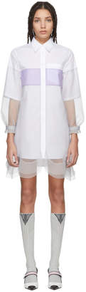 Prada White and Grey Chiffon Shirt Dress