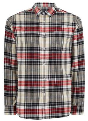 Topman Mens Beige Stone and Red Check Long Sleeve Shirt