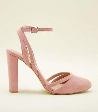 New Look Pink Suedette Round Toe Strappy Block Heels