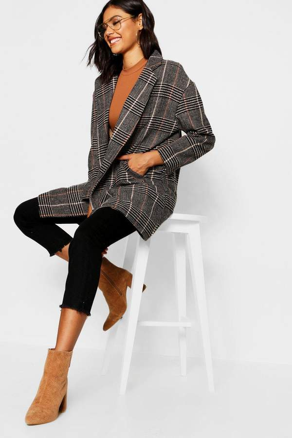 Double Breasted Check Wool Coat