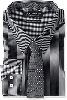 Nick Graham Men's Modern Fitted Pencil Strip Stretch Shirt with Micro Neat Tie