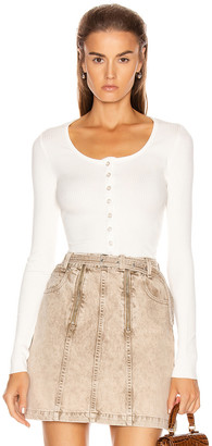 The Range Alloy Rib Cropped Button Down Top in White | FWRD