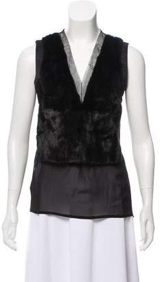 Gianfranco Ferre Silk Fur-Accented Top w/ Tags