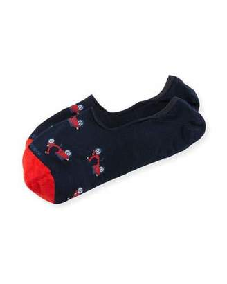 Marcoliani Invisible Touch Scooter No-Show Socks, Red/Navy $21 thestylecure.com