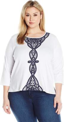 Alfred Dunner Women's Plus Size Floral Striped Knit Top