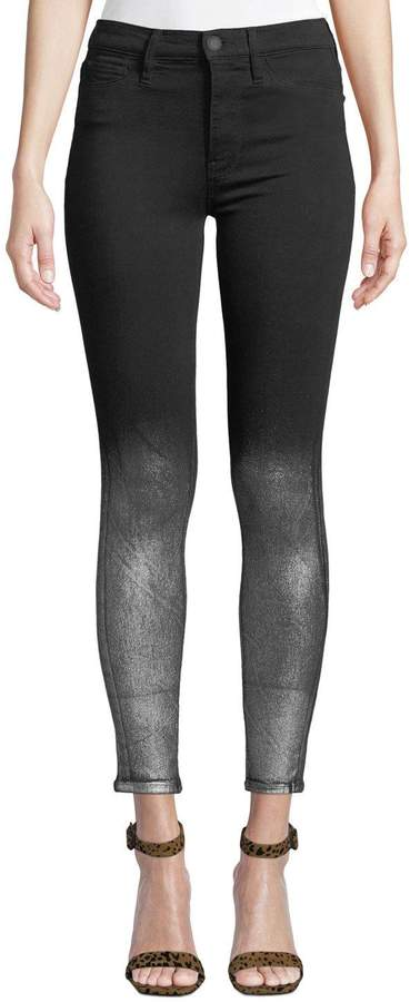 Barbara High-Rise Super Skinny Ankle Jeans w/ Metallic Spray