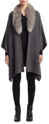 Sofia Cashmere Fox Fur Trimmed Cashmere Cape