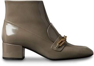 Burberry Link Detail Patent Leather Ankle Boots
