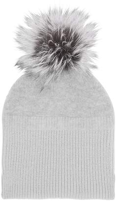 Amanda Wakeley Hamada Silver Cashmere & Fur Bobble Hat