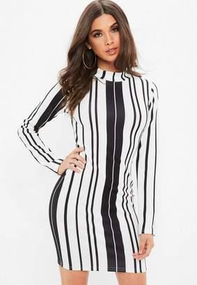 Missguided White Striped Asymmetric Hem Dress