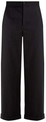 J.W.Anderson Wide Leg Striped Wool Blend Trousers - Womens - Navy